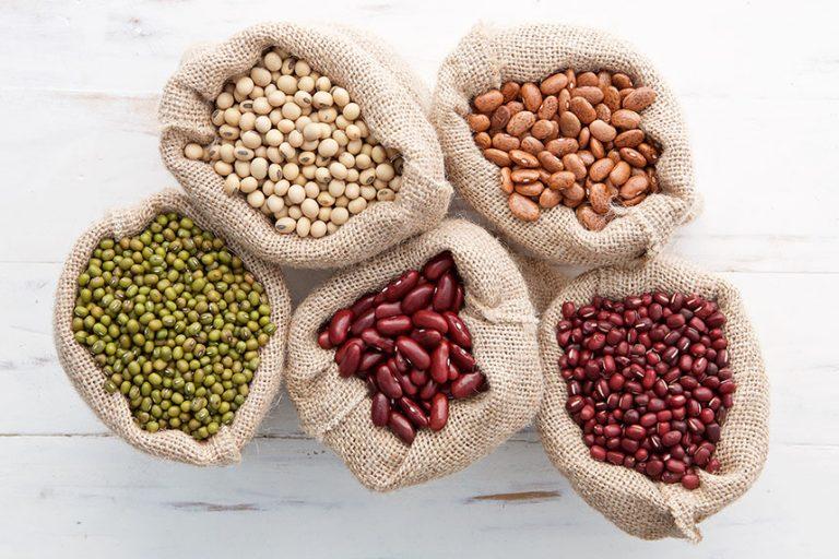 Burlap bags of dry beans