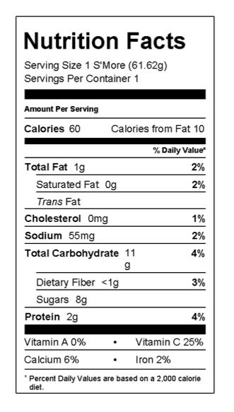 nutrition food label