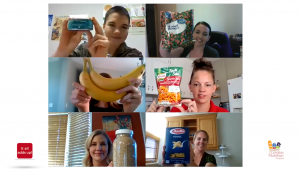 6 zoom windows with women holding up various foods