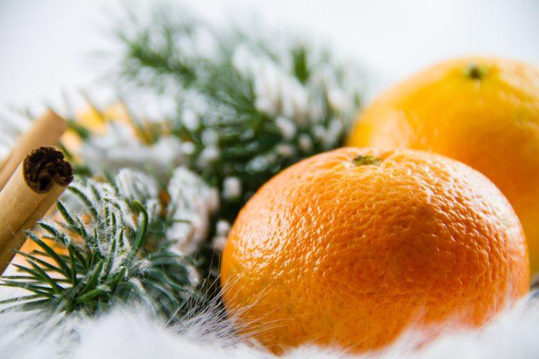 two oranges, pine needles, and cinnamon sticks on fabric snow
