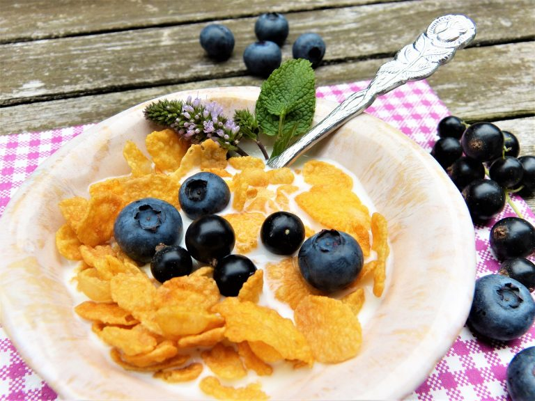 corn cereal with blueberries in white bowl