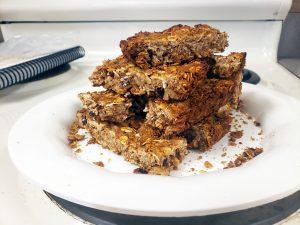 Homemade granola bars on a plate